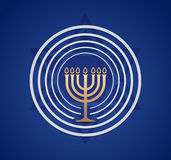 Jewish Menorah vector. Jewish Menorah with light on blue Israel star background, graphic vector Stock Photo