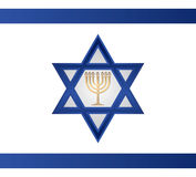 Jewish Menorah vector. Jewish Menorah with light on Israel star ,flag ,background Stock Images
