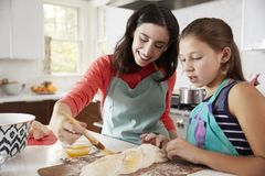 Free Jewish Mother And Daughter Glazing Dough For Challah Bread Royalty Free Stock Photography - 109325567