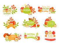 Jewish New Year Bright Postcard Labels Set Royalty Free Stock Photography