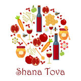 Jewish new year holiday elements for Rosh Hashanah stock photography