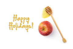 Jewish New Year holiday greeting card design with apple and honey wooden stick Stock Images