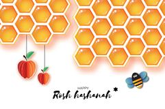 Jewish New Year, Rosh Hashanah Greeting card. Origami Apple with Honey gold cell and Honey Bee in paper cut style. Happy Stock Photos