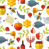 Jewish New Year Rosh Hashanah Pattern. Jewish New Year Rosh Hashanah seamless pattern with honey, fish and wine Royalty Free Stock Image