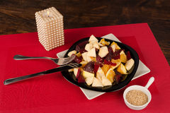 Jewish new year salad with fruit Royalty Free Stock Image