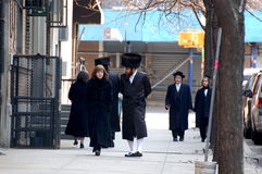 Jewish New Yorkers in traditional dress. People of many traditions live side by side in New York City Royalty Free Stock Photos