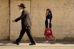 Jewish observant male and female, Old Jerusalem 2018 stock image