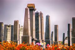 Jewish old graveyard. mossy tombstones stock image