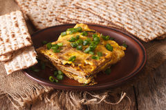 Jewish omelette: matzah brei with green onions close-up. horizon royalty free stock images