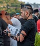Jewish orthodox hasid wears, tefillin and kippah. Uman, Ukraine - 2 October 2016: Every year, thousands of Orthodox Bratslav Hasidic Jews from different Stock Image