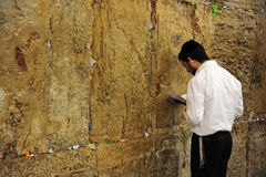 Jewish orthodox  man praying at the western wall Royalty Free Stock Photography
