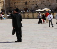 Jewish orthodox men Near the Wailing Wall Royalty Free Stock Photo