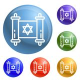 Jewish papyrus icons set vector royalty free illustration