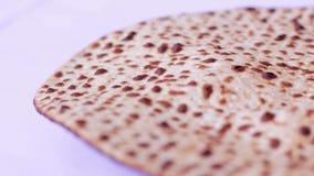 Jewish passover holiday Matzo (Jewish bread) background 2 stock video footage
