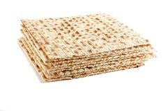 Jewish Passover holiday ritual food - matza. On white background, isolated Stock Photos