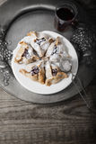 Jewish Pastry Hamantaschen on a table for Purim Holiday. Jewish Pastry Hamantaschen on a table for Purim Holiday Royalty Free Stock Photography