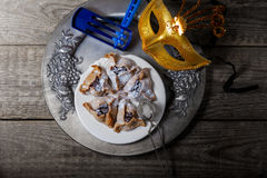 Jewish Pastry Hamantaschen. On a table for Purim Holiday Royalty Free Stock Images