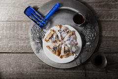 Jewish Pastry Hamantaschen. On a table for Purim Holiday Stock Image