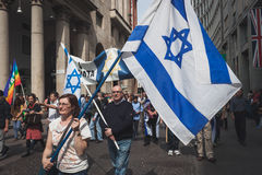 Jewish people taking part in the Liberation Day parade in Milan. MILAN, ITALY - APRIL 25: Jewish people take part in the Liberation Day parade to remember the Stock Image