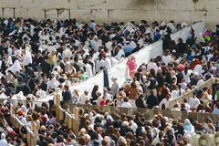 The Jewish Pesach (Passover) celebration. JERUSALEM – APRIL 05: The Jewish Pesach (Passover) celebration on April 05 2007. The group of orthodox religious Men Royalty Free Stock Photo