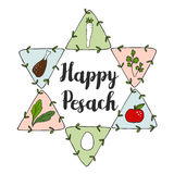Jewish Pesach Passover greeting card with seder doodle icons and jewish star,  Royalty Free Stock Images