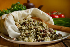 Jewish pilau in cloth bag Royalty Free Stock Images