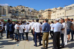 Jewish pray. JERUSALEM ISRAEL 26 10 16: Jewish pray a the Western Wall, Wailing Wall the Place of Weeping is an ancient limestone wall in the Old City of Royalty Free Stock Images