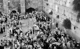 Jewish pray. JERUSALEM ISRAEL 26 10 16: Jewish pray a the Western Wall, Wailing Wall the Place of Weeping is an ancient limestone wall in the Old City of Royalty Free Stock Photo