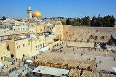Jewish pray. JERUSALEM ISRAEL 26 10 16: Jewish pray at the Western Wall, Wailing Wall the Place of Weeping is an ancient limestone wall in the Old City of royalty free stock image