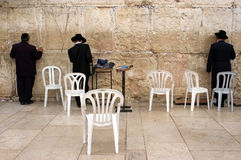 Jewish pray at the Western Wall in Jerusalem Israel Royalty Free Stock Photo