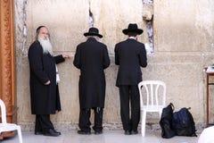 Jewish Prayer. Three orthodox jewish Prayer at the Western Wall in Jerusalem. Israel Royalty Free Stock Photography