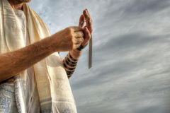 Jewish Prayer. Jewish man performing his morning prayers Royalty Free Stock Photography