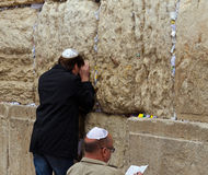 Jewish prayer in the Western wall Stock Photos