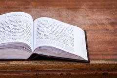 Jewish praying book on table. Stock Photos