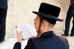 Jewish praying at the western wall Stock Photography