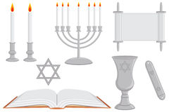 Jewish Religious Objects. A collection of Jewish religious objects including Sabbath candles, Sabbath menorah, torah, star of david, prayer book, kiddush kaddish Stock Photos