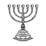 Jewish religious symbol menorah  on white background Stock Photos