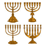 Jewish religious symbol menorah  on white background Stock Images