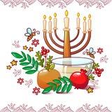Jewish rosh hashanah concept background, cartoon style vector illustration