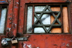 Jewish Sabbath. David's wooden star on a synagogue door Royalty Free Stock Images