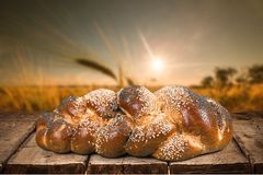 Jewish Sabbath. Challah Judaism Food Bread Couscous Table Royalty Free Stock Photos