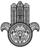 Jewish sacred amulet. Hamsa. Black and white jewish sacred amulet royalty free illustration
