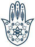 Jewish sacred amulet - hamsa or Miriam hand. Vector illustration royalty free illustration