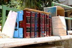 Jewish sacred books Torah on bookshelf library for read prayer at synagogue royalty free stock photos
