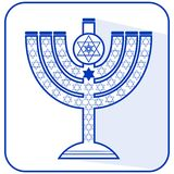 Jewish seven-branched candelabrum menorah with the Star of David, flat design illustration in israel national colors blue a stock illustration