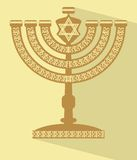 Jewish seven-branched candelabrum menorah with the Star of David, flat design vector illustration with long shadow, Yamim Noraim Stock Photos