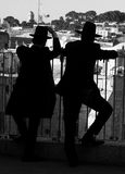 Jewish silhouettes. Young jewish man silhouettes on the Jerusalem background Stock Photos
