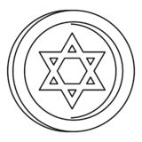 Jewish star coin icon, outline style stock illustration