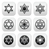 Jewish, Star of David icons set isolated on white Royalty Free Stock Photos