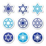 Jewish, Star of David icons set on white. Judaic, Jewish religious symbol - David star , icons set stock illustration